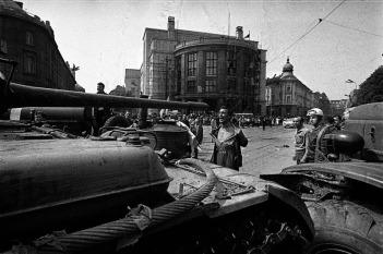 Man protesting against the Warsaw Pact Czechoslovakia invasion