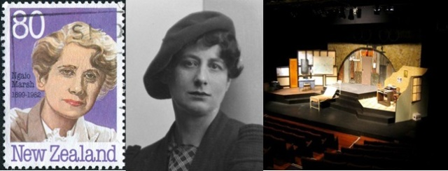 Left to Right: Marsh on a Stamp, A Young Ngaio Marsh, Ngaio Marsh Theatre, which was a the University of Canterbury, New Zealand