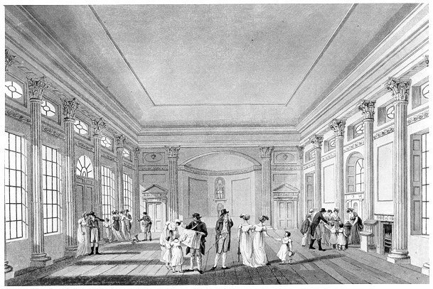 A drawing of the Pump Room in Bath
